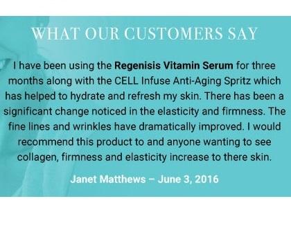 testimonial for Regenisis Vitamin Serum